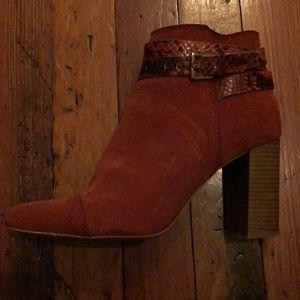 Zara orange ankle booties with snakeskin detail
